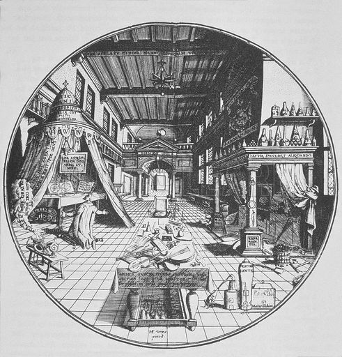 "The alchemist's workplace, the ""Laboratorium"", comes from the Latin words labor (work) and oratorium (a place devoted to prayer)."