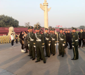 Military in front of the Forbidden City (many of them are younger than me, I think.)